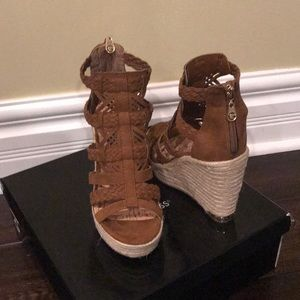 Guess Madison Faux Suede and Fabric Wedges